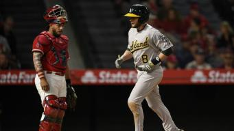 A's Outlast Angels for First Road Win of Season