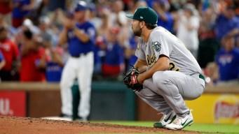 A's Allow Five Home Runs, Fall to Rangers