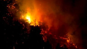 RAW: Aerial View of  the Bear Fire in Santa Cruz Mountains