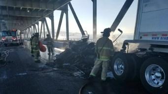 Tractor Trailer Fire on Richmond-San Rafael Bridge