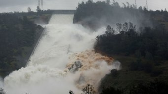 Water Flowing Over Emergency Spillway at Lake Oroville