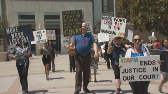 Santa Clara County Court Workers Practice Picketing For Possible Strike