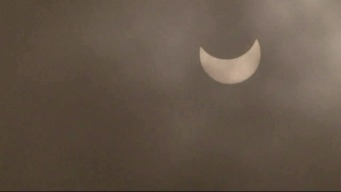 RAW: Solar Eclipse Through the Fog in San Francisco