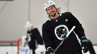 Erik Karlsson Skates With Sharks for the First Time