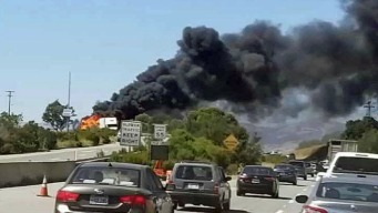 Big-Rig Fire Shuts Down Highway 101 in Gilroy
