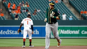 Healy Homers Twice as A's Hold Off Orioles