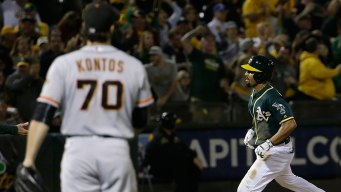 MLB-Worst Giants Lose to A's in Battle of the Bay Opener
