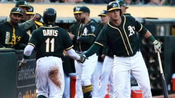 Khris Davis Drives in Two, Hahn Silences Jays in A's 4-1 Win
