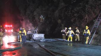 Vehicle Fire Ignites South Bay Hillside, Blaze Extinguished Quickly