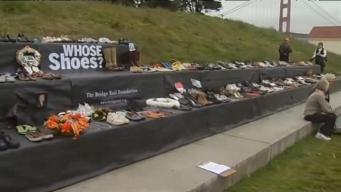 Rows of shoes to represent suicides off GGB