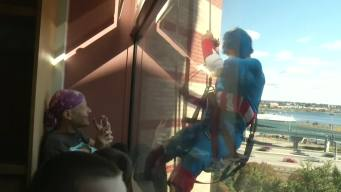 Superhero Window Washers Brighten Children's Day
