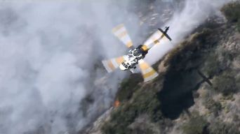 Firefighters Protect Hillside Homes From Fire in Beverly Crest Area