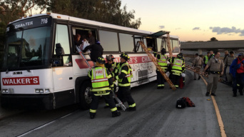 2 Hurt After Charter Bus Crashes in San Mateo: CHP