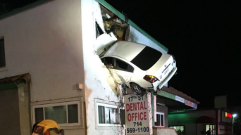 Speeding Car Goes Airborne, Plows Into 2nd Floor of Building