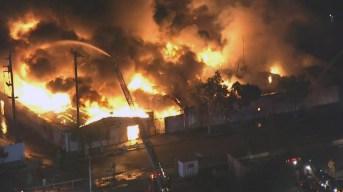 Massive Fire Rips Through LA Commercial Building