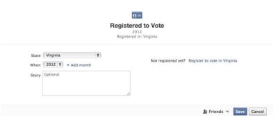 FB Adds 'Registered to Vote' to Timeline