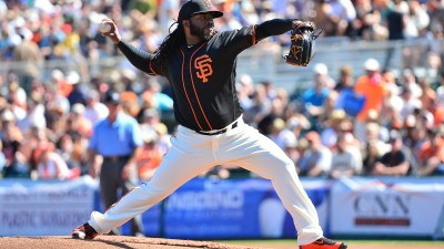 Giants' Cueto Hit by Liner vs A's