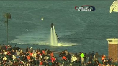 Fan Floats Above McCovey Cove on JetPack