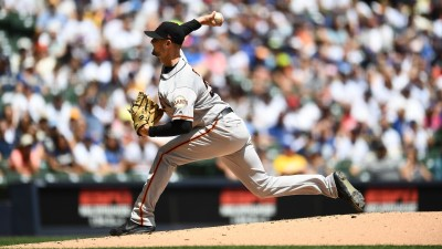 Beede's Pitching, Hitting Lead Giants Past Brewers 8-3