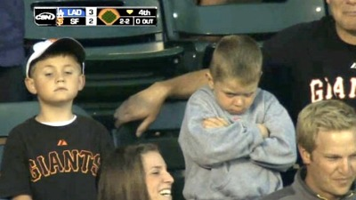 Young Giants Fan Pouts After Whiffing Ball