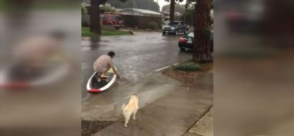 SoCal Residents Boogie Board, Surf Down Flooded Streets