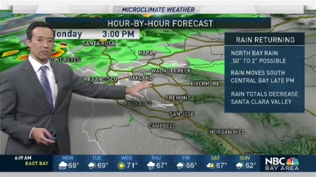 We'll see rain spreading slowly southward through the morning into the South Bay by afternoon and evening. Wind speeds of 15-35 mph will be possible at times with highs fairly mild despite the rain, mostly mid 60s to low 70s.  Rain should turn to showers and move north back into the North Bay heading into Tuesday afternoon.  We should see mostly dry conditions return Wednesday before a possibly windier and likely wetter storm arrives during the day Thursday.