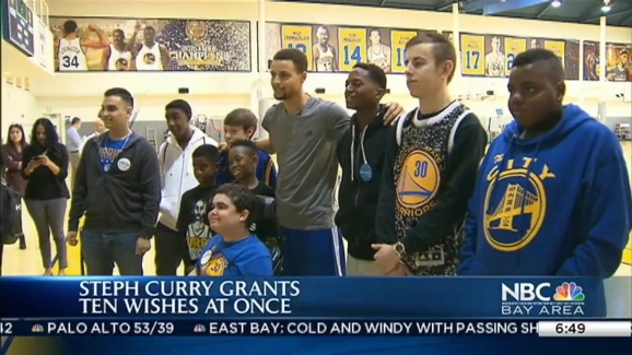 ff1102d61909 Warriors Stephen Curry Hangs Out With Make-A-Wish Foundation Kids ...