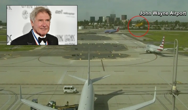 Video Shows Harrison Ford's Near-Miss at Calif. Airport