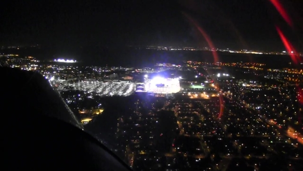 Levi's Stadium Scoreboard lights up at night