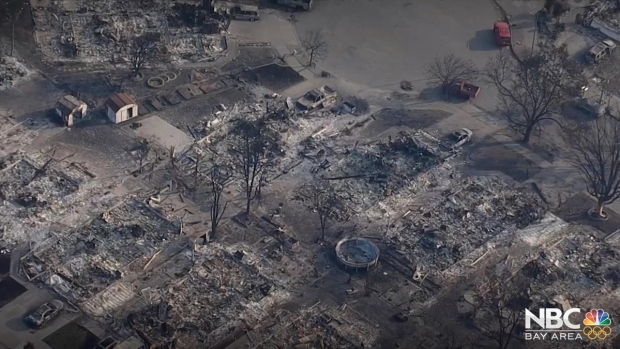 Aerial Views of Destruction Left By Northern California Wildfires