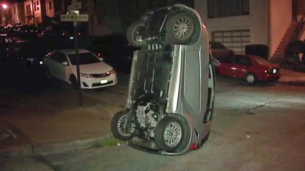 Photos Smart Cars Flipped Over In San Francisco