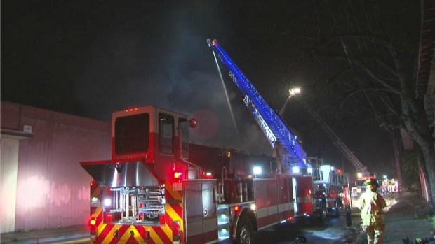 Firefighters Battles 3-Alarm Warehouse Fire in Santa Rosa