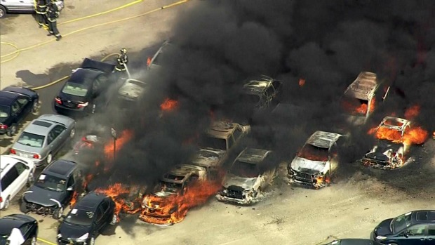 Fire Rages at Auto Auction Lot in Fremont