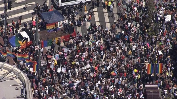 RAW: Teeming Crowd Protests Hate in San Francisco's Castro District
