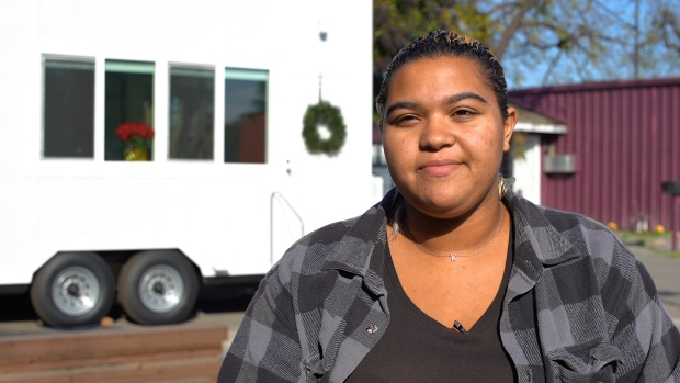 RAW: Student Briana Perry Discusses SJCC's Tiny Home Project