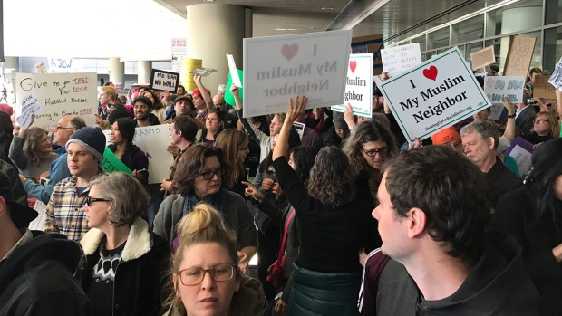Protesters Oppose Trump's Travel Ban at SFO