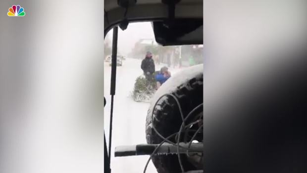 [NATL] Christmas Tree Repurposed as Sled in South Carolina Snow