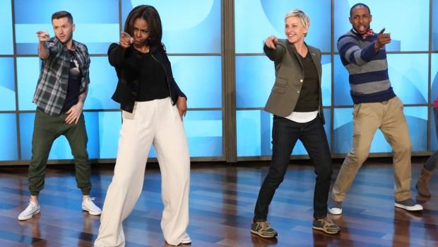 "First Lady Dances to ""Uptown Funk"" on Ellen"