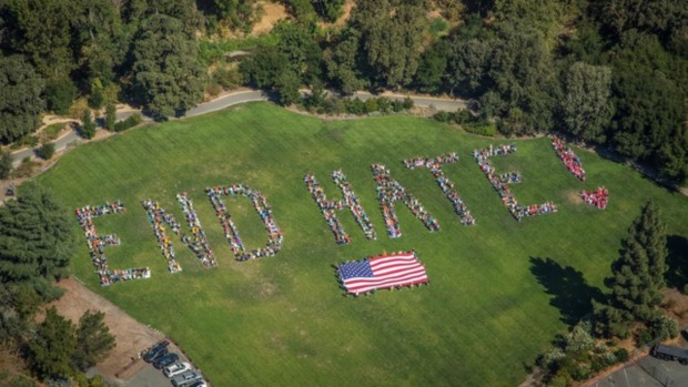 "[BAY] Walnut Creek Demonstrators Form ""End Hate"" Message"