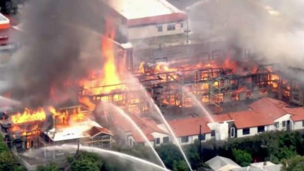 Fire Burns Through Construction Development in Santa Clara