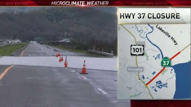 [BAY] Hail Hits Novato as Flood Shuts Down Westbound 37
