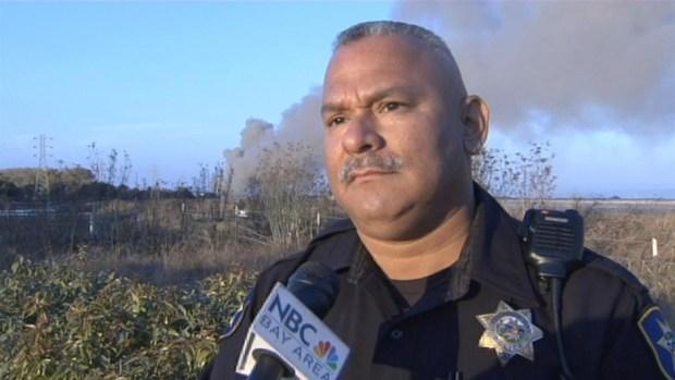 [BAY] RAW VIDEO: Metal Debris Fire Burns in Redwood City