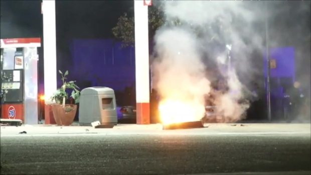 [BAY] RAW VIDEO: SUV Slams Into Gas Pump, Sparks Fire