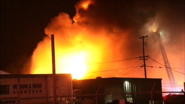[BAY] RAW VIDEO: Firefighters Battling Warehouse Fire Near Eastshore Hwy