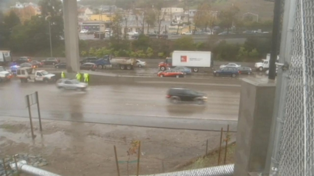 [BAY] RAW VIDEO: Flooding on Hwy 101 at Oyster Pt.