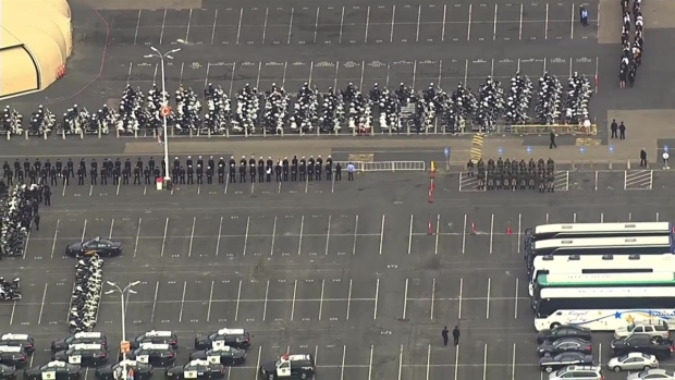 [BAY] RAW: Aerial View of Motorcade for Slain Hayward Sergeant