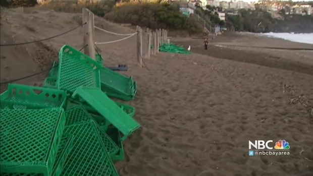 [BAY] Cleanup Underway For Shipping Container Loaded With Bread That Washed Ashore on San Francisco's Baker Beach