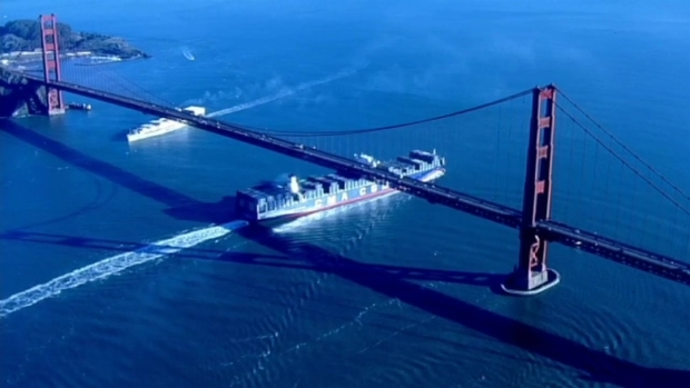[BAY] Massive Cargo Ship Sails Under Golden Gate Bridge