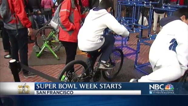 [BAY] As Super Bowl City Opens, Football Fans Flock to the City