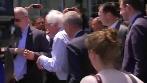 Raw: Bernie Sanders Gets Huge Welcome in Oakland